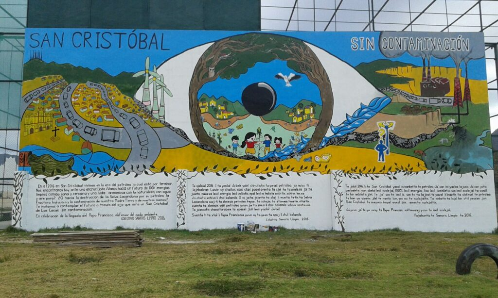 """San Cristóbal without contamination"" painted on the occasion of the visit of Pope Francis in February 2016"